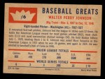 1960 Fleer #6  Walter Johnson  Back Thumbnail