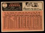 1966 Topps #132  Orlando Cepeda  Back Thumbnail