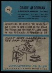 1964 Philadelphia #99  Grady Alderman  Back Thumbnail