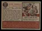 1962 Topps #304  Dick Farrell  Back Thumbnail