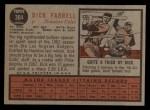 1962 Topps #304  Dick Farrell  Back Thumbnail
