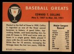 1961 Fleer #16  Eddie Collins  Back Thumbnail