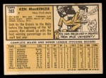 1963 Topps #393  Ken MacKenzie  Back Thumbnail