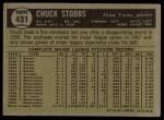 1961 Topps #431  Chuck Stobbs  Back Thumbnail
