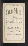 1910 T210-6 Old Mill Blue Grass League  Moloney  Back Thumbnail