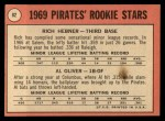1969 Topps #82   -  Rich Hebner / Al Oliver Pirates Rookies Back Thumbnail