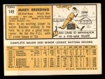 1963 Topps #149  Marv Breeding  Back Thumbnail