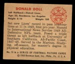 1950 Bowman #73  Donald Doll  Back Thumbnail