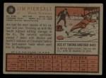 1962 Topps #90  Jimmy Piersall  Back Thumbnail