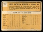 1963 Topps #145   -  Chuck Hiller 1962 World Series - Game #4 - Hiller Blasts Grand Slammer Back Thumbnail
