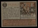 1962 Topps #296  Ken Hamlin  Back Thumbnail