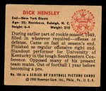 1950 Bowman #104  Dick Hensley  Back Thumbnail