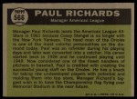 1961 Topps #566   -  Paul Richards All-Star Back Thumbnail