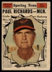 1961 Topps #566   -  Paul Richards All-Star Front Thumbnail