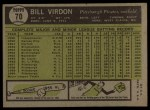 1961 Topps #70  Bill Virdon  Back Thumbnail