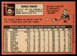1969 Topps #463  Dennis Ribant  Back Thumbnail