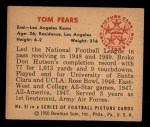 1950 Bowman #51  Tom Fears  Back Thumbnail