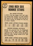 1968 Topps #314   -  Bill Rohr / George Spriggs Red Sox Rookies Back Thumbnail