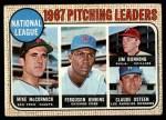 1968 Topps #9   -  Jim Bunning / Ferguson Jenkins / Mike McCormick / Claude Osteen NL Pitching Leaders Front Thumbnail