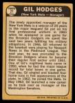 1968 Topps #27 COR Gil Hodges  Back Thumbnail