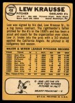 1968 Topps #458  Lew Krausse  Back Thumbnail