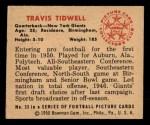 1950 Bowman #33  Travis Tidwell  Back Thumbnail