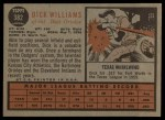 1962 Topps #382  Dick Williams  Back Thumbnail