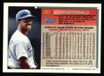 1994 Topps #260  Julio Franco  Back Thumbnail