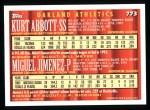 1994 Topps #773  Kurt Abbott  /  Miguel Jimenez  Back Thumbnail
