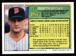 1994 Topps #71  Rich Becker  Back Thumbnail