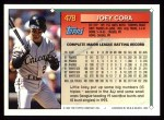 1994 Topps #478  Joey Cora  Back Thumbnail