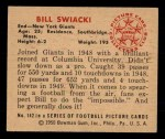 1950 Bowman #142  William Swiacki  Back Thumbnail