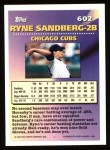 1994 Topps #602   -  Ryne Sandberg Measures of Greatness Back Thumbnail