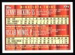 1994 Topps #771  Denny Hocking  /  Oscar Munoz  Back Thumbnail