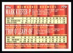1994 Topps #770  Mark Kiefer  /  Troy O'Leary  Back Thumbnail