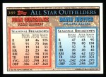 1994 Topps #389   -  Juan Gonzalez  /  David Justice All-Star Back Thumbnail
