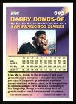 1994 Topps #605   -  Barry Bonds Measures of Greatness Back Thumbnail