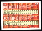 1994 Topps #769  Bob Hamelin / Joe Vitiello  Back Thumbnail