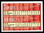 1994 Topps #780  Jason Bates / John Burke  Back Thumbnail