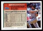 1994 Topps #141  Rene Gonzales  Back Thumbnail