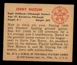 1950 Bowman #20  Jerry Nuzum  Back Thumbnail