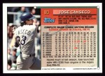 1994 Topps #80  Jose Canseco  Back Thumbnail