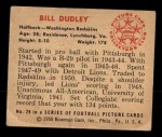 1950 Bowman #29  Bill Dudley  Back Thumbnail
