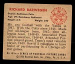 1950 Bowman #40  Richard Barwegan  Back Thumbnail