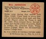 1950 Bowman #72  Bill Johnson  Back Thumbnail