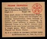 1950 Bowman #91  Frank Tripucka  Back Thumbnail