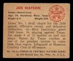 1950 Bowman #110  Joe Watson  Back Thumbnail