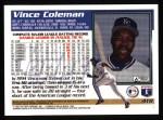 1995 Topps #419  Vince Coleman  Back Thumbnail