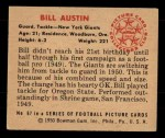 1950 Bowman #67  Bill Austin  Back Thumbnail