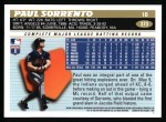 1996 Topps #373  Paul Sorrento  Back Thumbnail